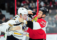 February 16, 2016: Buffalo Sabres Right Wing Nicolas Deslauriers (44) [7430] and Ottawa Senators Right Wing Chris Neil (25) [1585] fight during the first period of the NHL game between the Ottawa Senators and the Buffalo Sabres at Canadian Tires Centre in Ottawa, Ontario, Canada. The Senators winning 2-1 after over time. (Photo by Steve Kingsman/Icon Sportswire)