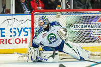 KELOWNA, BC - OCTOBER 16:  Isaac Poulter #1 of the Swift Current Broncos defends the net against the Kelowna Rockets at Prospera Place on October 16, 2019 in Kelowna, Canada. (Photo by Marissa Baecker/Shoot the Breeze)