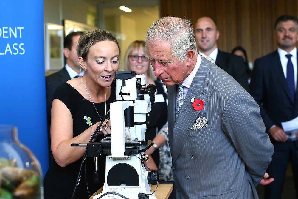 Prince Charles, Prince of Wales talks with Serean Adams at the Cawthron Institute, Nelson, New Zealand, Saturday, November 07, 2015. Credit:SNPA / Shuttersports, Evan Barnes **POOL**
