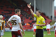 Dean Hammond of Sheffield United receives yellow card for foul on Ryan McGivern of Port Valeduring the Sky Bet League 1 match between Sheffield Utd and Port Vale at Bramall Lane, Sheffield, England on 20 February 2016. Photo by Ian Lyall.