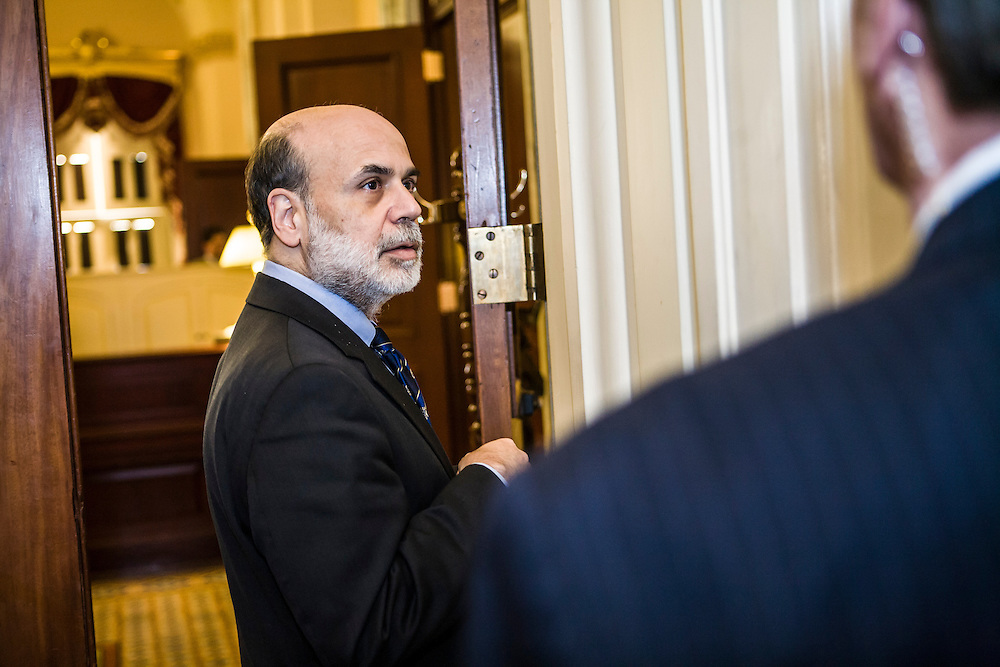 Federal Reserve Chairman Ben Bernanke arrives at the office of Senate Majority Leader Harry Reid (D-NV) in the Capitol on Tuesday, September 16, 2008 in Washington, DC. (Brendan Hoffman for the New York Times)