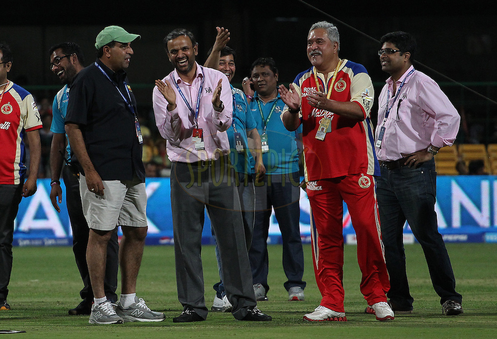 Sundar Raman (CEO IPL) and Dr Vijay Mallya watch the speed test after match 31 of the Pepsi Indian Premier League between The Royal Challengers Bangalore and The Pune Warriors India held at the M. Chinnaswamy Stadium, Bengaluru  on the 23rd April 2013..Photo by Ron Gaunt-IPL-SPORTZPICS ..Use of this image is subject to the terms and conditions as outlined by the BCCI. These terms can be found by following this link:..http://www.sportzpics.co.za/image/I0000SoRagM2cIEc