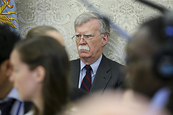 National security advisor John Bolton listens as President Donald Trump meets with South Korean President Moon Jae-in, in the Oval Office of the White House on May 22, 2018 in Washington DC.<br /> (Photo by Oliver Contreras/SIPA USA)