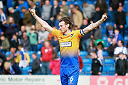 Mansfield Town defender Zander Diamond (6) celebrates his sides win after the EFL Sky Bet League 2 match between Chesterfield and Mansfield Town at the Proact stadium, Chesterfield, England on 14 A pril 2018. Picture by Nigel Cole.