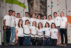 Medical students and volunteers students from the University of Edinburghendured a training session on a climbing wall ahead of their research trip to the Andes which will study the effects of altitude and low-oxygen environments on the human body. Nandesh Patel, Stewart Rodney, Xu Teo, Sandy Jackson, Calum Stannett, Ally Rocke, Tom Beddis, Cameron Richardson, Harry Newmark, Rob Gilhespy; Middle row, Arabella Kennard, Alice Ojeda, Shona Main, Charlotte Bentley, Millie Wood, Eleanor Dow;  <br />  Centre for Sport and Excellence, University of Edinburgh24 April 2014 (c) GER HARLEY | StockPix.eu