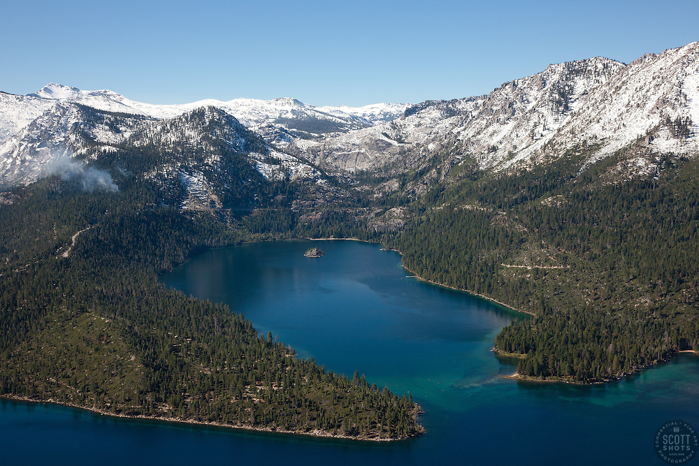"""Emerald Bay, Lake Tahoe Aerial 6"" - Photograph of Emerald Bay in Lake Tahoe, shot from an amphibious seaplane with the door removed."