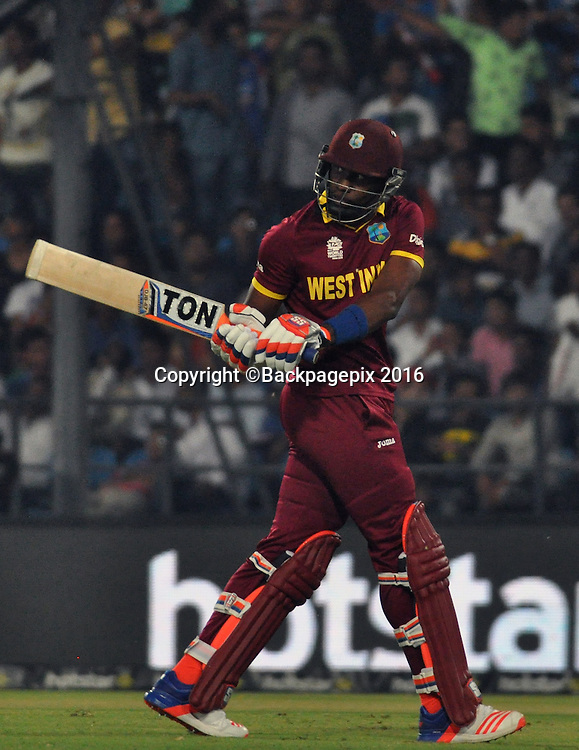 Dwayne Bravo of West Indian catch by David Wiese bowled by Aaron Phangiso of South Africa both not in the picture during the 2016 ICC World T20 cricket match between South Africa and West Indies at Vidharbha Cricket Association, Jamtha, India on 25 March 2016 ©BackpagePix