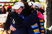 Members of Marquette's Women's Collegiate Fours team celebrate after competing on Day 2 of The 52nd Head of the Charles Regatta on October 23, 2016 in Cambridge, Massachusetts.