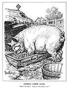 "Goering Ueber Alles. ""What's the matter? Surely we have plenty to eat."" (Goering as a fat pig eating the European Food Supplies at the Nazi farm)"