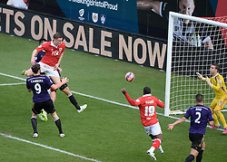 Bristol City's Matt Smith comes close with a header. - Photo mandatory by-line: Alex James/JMP - Mobile: 07966 386802 - 25/01/2015 - SPORT - Football - Bristol - Ashton Gate - Bristol City v West Ham United - FA Cup Fourth Round