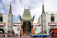 Taxi Driving Past Grauman's Chinese Theatre, Hollywood, California