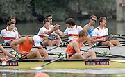 Ottensheim, AUSTRIA.  A  Final,  GER JM4X, gold medallist,  left Fabian WEILER, and Hurbet TRZYBINSKI congratulate each other after winning the gold medal for Junior Quads, at the 2008 FISA Senior and Junior Rowing Championships,  Linz/Ottensheim. Saturday,  26/07/2008.  [Mandatory Credit: Peter SPURRIER, Intersport Images] Rowing Course: Linz/ Ottensheim, Austria