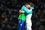 Leeds United forward Ian Poveda (7) hugs Leeds United defender Luke Ayling (2) during the EFL Sky Bet Championship match between Leeds United and Millwall at Elland Road, Leeds, England on 28 January 2020.