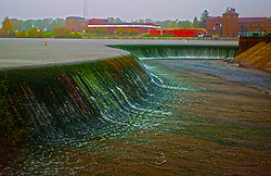13 October 2014:   Autumn on a very rainy day in McLean County.  Lake Bloomington Spillway.<br />