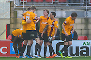 Bradford City players celebrate the opening goal scored by Aaron McLean of Bradford City (right) during the Sky Bet League 1 match at the Matchroom Stadium, London<br /> Picture by David Horn/Focus Images Ltd +44 7545 970036<br /> 29/03/2014