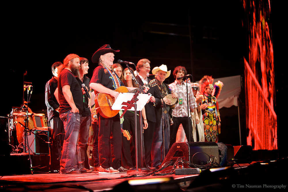 Willie Nelson performing at Farm Aid 2011