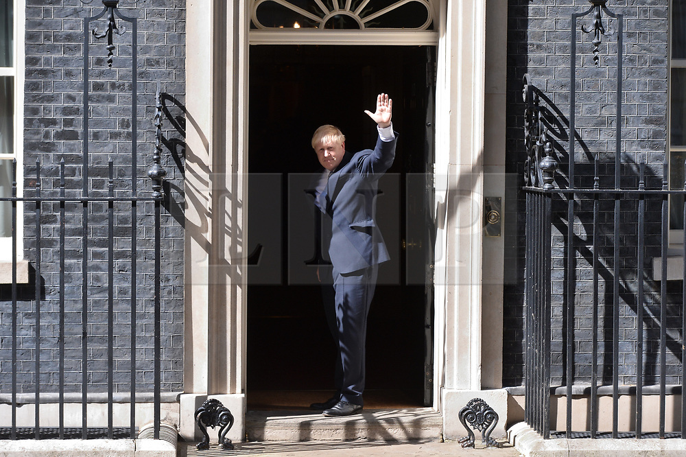 © Licensed to London News Pictures. 24/07/2019. London, UK. British Prime Minister Theresa May MP makes her final speech ouutside No. 10 Downing Street with her husband Phillip May. Boris Johnson MP was elected as the new Conservative party leader and Prime Minister. Photo credit: Ray Tang/LNP