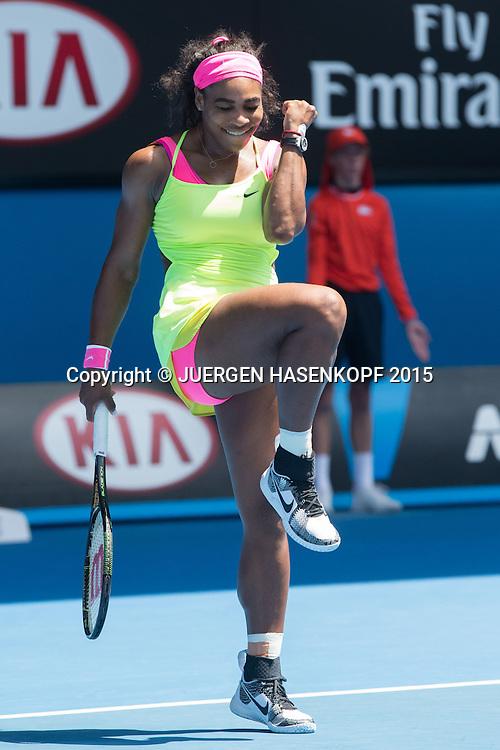 Serena Williams (USA) jubelt, Jubel,Emotion,<br /> <br /> Tennis - Australian Open 2015 - Grand Slam ATP / WTA -  Melbourne Olympic Park - Melbourne - Victoria - Australia  - 28 January 2015.