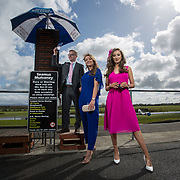 02.05.2018.        <br /> Limerick Racecourse launches Twilight Racing Series. <br /> Pictured are left to right, bookie, Patrick Mulcahy, Seamus Mulvanney Bookmakers with models, Emma Doran and Chloe Walsh. Picture: Alan Place