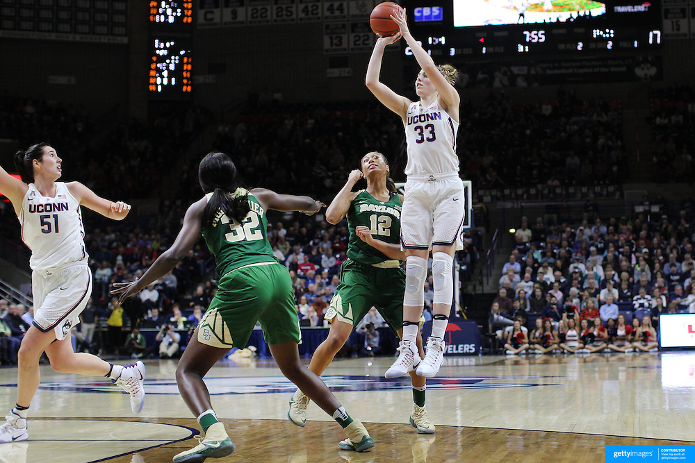 STORRS, CONNECTICUT- NOVEMBER 17: Katie Lou Samuelson #33 of the UConn Huskies shoots<br /> while defended by Alexis Prince #12 of the Baylor Bears and Beatrice Mompremier #32 of the Baylor Bears during the UConn Huskies Vs Baylor Bears NCAA Women's Basketball game at Gampel Pavilion, on November 17th, 2016 in Storrs, Connecticut. (Photo by Tim Clayton/Corbis via Getty Images)