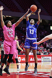 NORMAL, IL - February 10: Simone Goods defends Ty Battle during a college women's basketball Play4Kay game between the ISU Redbirds and the Indiana State Sycamores on February 10 2019 at Redbird Arena in Normal, IL. (Photo by Alan Look)