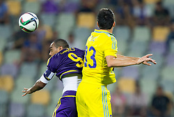 Marcos Tavares #9 of Maribor vs Branko Ilic of Astana during First Leg football match between NK Maribor and FC Astana in Second qualifying round of UEFA Champions League, on July 14, 2015 in Stadium Ljudski vrt, Maribor, Slovenia. Photo by Vid Ponikvar / Sportida