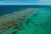 Coral reef Aerial view<br /> Ambergris Caye<br /> Belize<br /> Central America