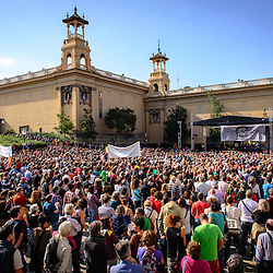 Thousands show up for a rally to support the organization Process Constituent which wants an independent new form of government in Catalonia.