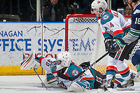 KELOWNA, CANADA - FEBRUARY 13: Michael Herringer #30 of the Kelowna Rockets makes a save against the Seattle Thunderbirds on February 13, 2017 at Prospera Place in Kelowna, British Columbia, Canada.  (Photo by Marissa Baecker/Shoot the Breeze)  *** Local Caption ***