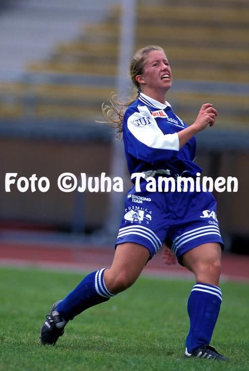 20.07.1996.Naisten SM-sarja / Women's National Championship.Tiina Messala - HJK Helsinki.©JUHA TAMMINEN.