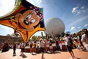 Orlando, Florida, USA, 20090325:   The Disney EPCOT Center in Orlando. A Minnie Mouse balloon outside the Space Ship Earth. Photo: Orjan F. Ellingvag/ Dagbladet/ Corbis