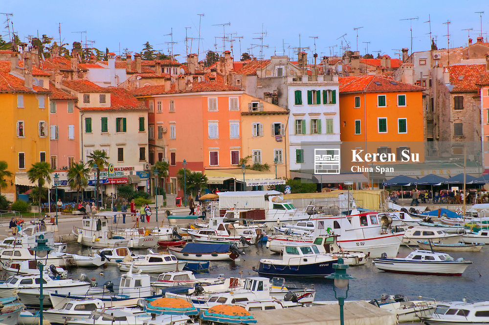 Buildings with antenna and boats by the water, Rovinj, Istria, Croatia