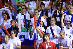 Swimmers of Slovenia as fans: Nika Karlina Petric, Nina Cesar, Matjaz Markic, Maja and Nina Sovinek and Karmen Petric at LEN European Short Course Swimming Championships Rijeka 2008, on December 14, 2008,  in Kantrida pool, Rijeka, Croatia. (Photo by Vid Ponikvar / Sportida)