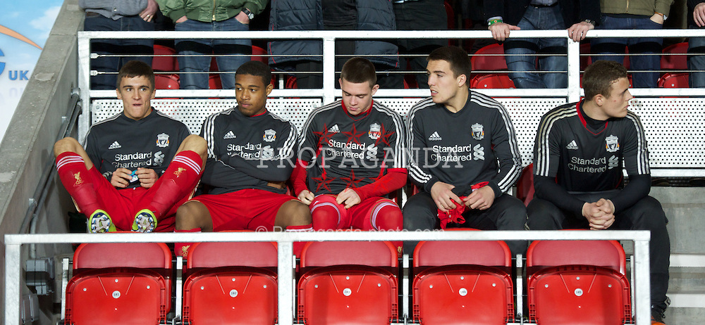 ST HELENS, ENGLAND - Wednesday, March 14, 2012: Liverpool's substitutes before the NextGen Series Semi-Final match against Ajax at Langtree Park. L-R: Adam Morgan, Jordan Ibe, Jack Dunne, Matthew Regan and goalkeeper Tyrell Belford. (Pic by David Rawcliffe/Propaganda)