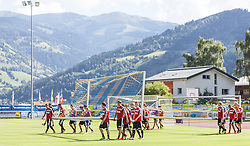 16.07.2014, Alois Latini Stadion, Zell am See, AUT, Bayer 04 Leverkusen Trainingslager, im Bild die Spieler tragen die Tore auf den Platz // the player carrying the football goals on the pitch during a Trainingssession of the German Bundesliga Club Bayer 04 Leverkusen at the Alois Latini Stadium, Zell am See, Austria on 2014/07/16. EXPA Pictures © 2014, PhotoCredit: EXPA/ JFK