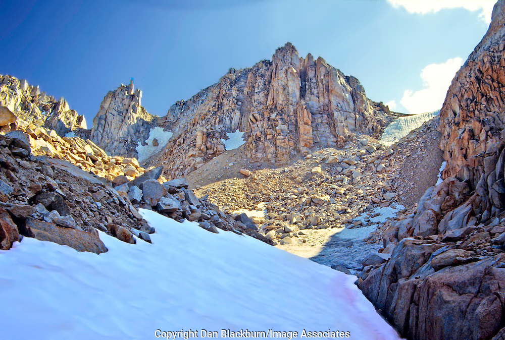 Snowfield Lingers into Summer in Granite Park in the High Sierra Nevada Range in California.