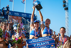 25-08-2019 NED: DELA NK Beach Volleyball, Scheveningen<br /> Last day NK Beachvolleyball / Emma Piersma #1 and Pleun Ypma #2 Dutch Champion Beachvolleyball 2019