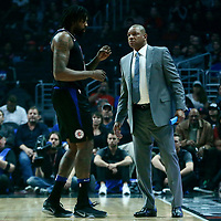 30 November 2017: LA Clippers center DeAndre Jordan (6) talks to LA Clippers head coach Doc Rivers during the Utah Jazz 126-107 victory over the LA Clippers, at the Staples Center, Los Angeles, California, USA.