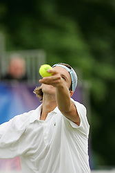 LIVERPOOL, ENGLAND - FRIDAY, JUNE 10th, 2005: Robert Kendrick in action during the Liverbird Developments Liverpool International Tennis Tournament in Calderstones Park. (Pic by Dave Rawcliffe/Propaganda)