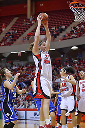 07 February 2009: Nicolle Lewis grabs a rebound. Illinois State increased their 1st place lead by beating 2nd place Indiana State by a score of 69-48. The Illinois State University Redbirds hosted the Indiana State University Sycamores on Doug Collins Court inside Redbird Arena on the campus of Illinois State University in Normal Illinois