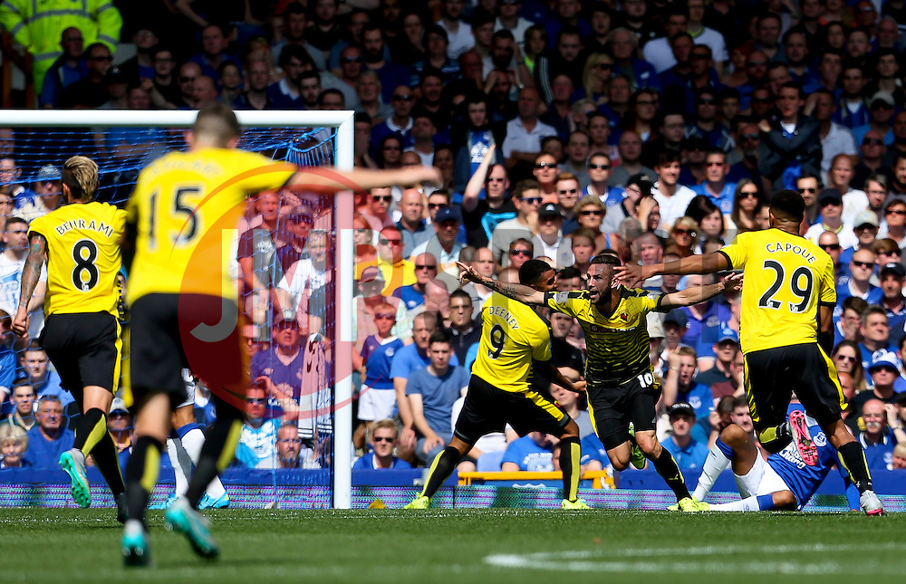 Watford's Miguel Layun celebrates after scoring the opening goal  - Mandatory byline: Matt McNulty/JMP - 07966386802 - 08/08/2015 - FOOTBALL - Goodison Park -Liverpool,England - Everton v Watford - Barclays Premier League