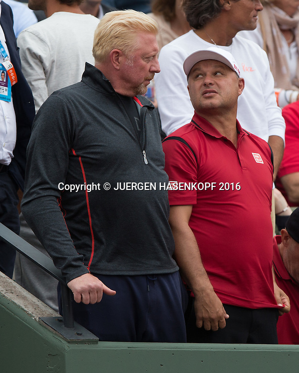 Novak Djokovic Trainer Boris Becker und Mari&aacute;n Vajda in der Spielerloge,<br /> <br /> Tennis - French Open 2016 - Grand Slam ITF / ATP / WTA -  Roland Garros - Paris -  - France  - 26 May 2016.