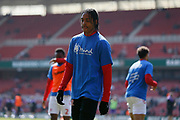 Middlesbrough defender Djed Spence (42) warming up during the EFL Sky Bet Championship match between Middlesbrough and Stoke City at the Riverside Stadium, Middlesbrough, England on 19 April 2019.