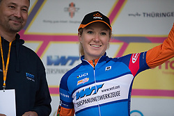 Amy Pieters (NED) of Team Netherlands celebrates wearing the sprint jersey after the prologue of the Lotto Thuringen Ladies Tour - a 6.1 km individual time trial, starting and finishing in Gera on July 12, 2017, in Thuringen, Germany. (Photo by Balint Hamvas/Velofocus.com)