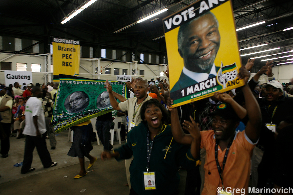 POLOKWANE, SOUTH AFRICA DEC 15, 2007: DElegates who are supporters of the two main candidates for the presidency of the ruling African National Congress (ANC) campaign ahead of the ANC confreence in Polokwane, Limpopo province, South Africa at registration of delegates. Photo Greg Marinovich / Bloomberg News