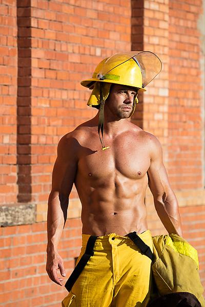 shirtless hot muscular fireman outdoors