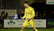 Nathan Baxter celebrates Chelsea's third during the FA Youth Cup match between U18 AFC Wimbledon and U18 Chelsea at the Cherry Red Records Stadium, Kingston, England on 9 February 2016. Photo by Michael Hulf.