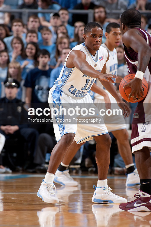 07 January 2009: North Carolina Tar Heels guard Larry Drew II (11) during a 108-70 win over the College of Charleston Cougars at the Dean Smith Center in Chapel Hill, NC.