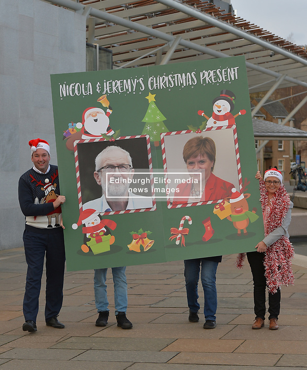 Pictured: Scottish Conservative MSPs Miles Briggs and Annie Wells with the calendar outside the Scottish Parliament.<br /> <br /> The Scottish Conservatives unveiled a giant 'no 2 indyref 2' advent calendar.<br /> <br /> © Dave Johnston / EEm
