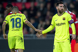 November 28, 2018 - Eindhoven, Netherlands - Lionel Messi and Jordi Alba of Barcelona during the UEFA Champions League Group B match between PSV Eindhoven and FC Barcelona at Philips Stadium in Eindhoven, Netherlands on November 28, 2018  (Credit Image: © Andrew Surma/NurPhoto via ZUMA Press)